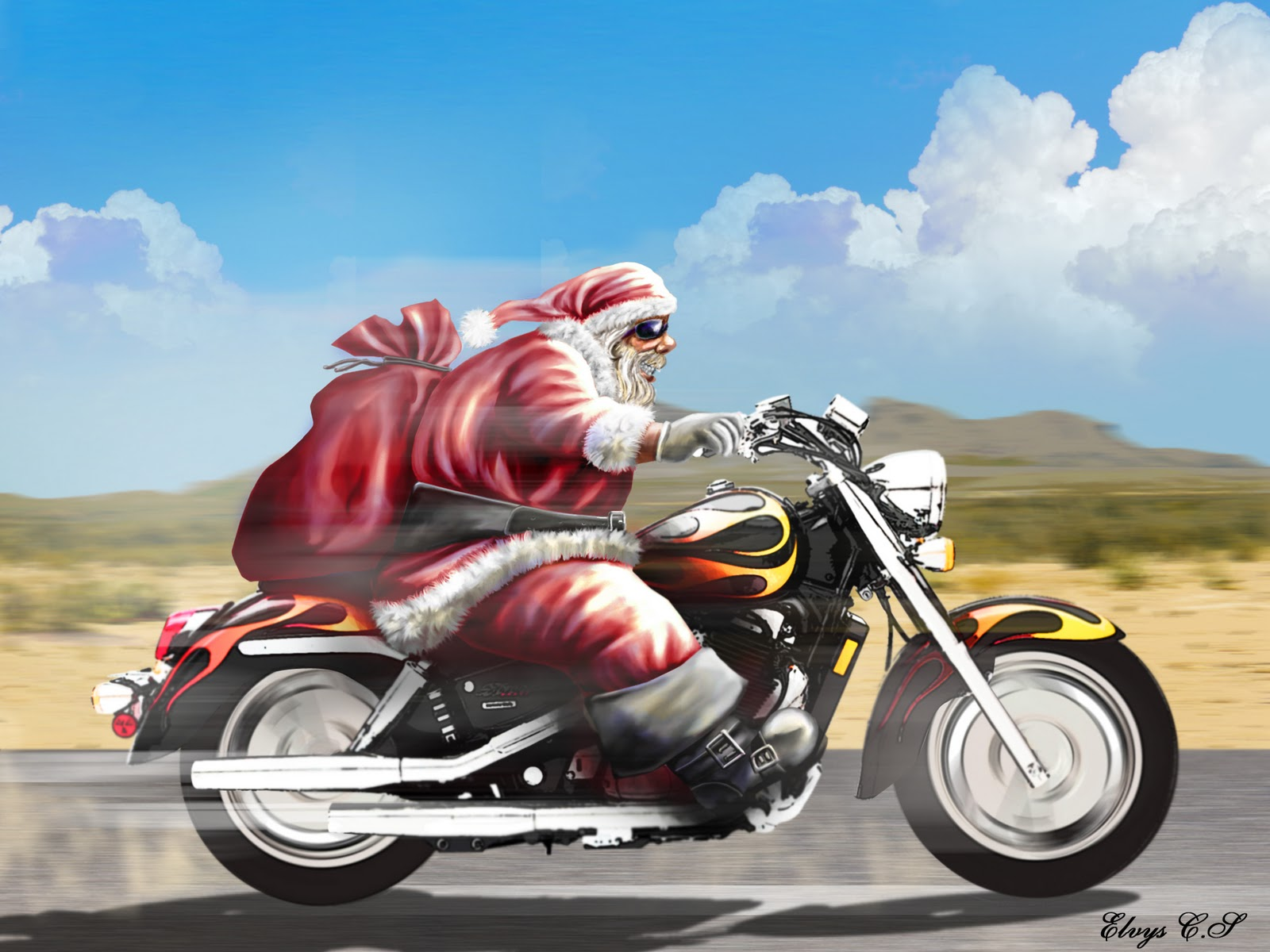papai noel zika de oculos escuro andando de moto ao som de sweet dreams